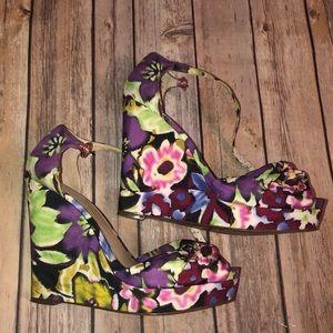 Nine West Floral Let It Go Wedges